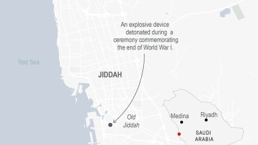 Map locates attack in Jiddah, Saudi Arabia.