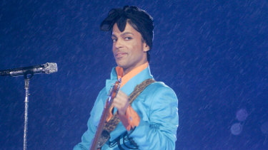 Prince performs during the half-time show at the Super Bowl in Miami in 2007.