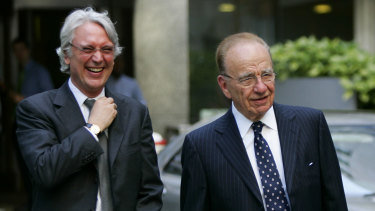 Les Hinton pictured with Rupert Murdoch in London in 2005.