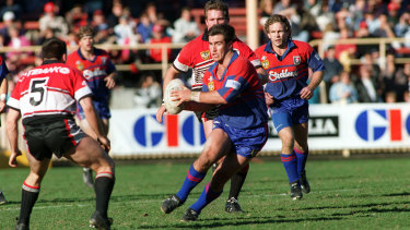 Andrew Johns playing against the Bears at North Sydney Oval during the 1990s.