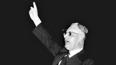 Then prime minister John Curtin at a rally in 1942.
