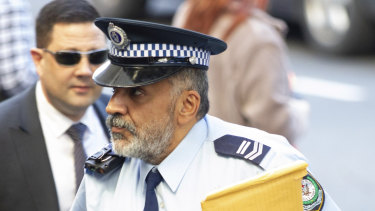 Leading Senior Constable Tufan Sulman arrives at court.