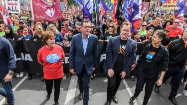 Premier Daniel Andrews leads a march in October with union leaders Lisa Fitzpatrick, Luke Hilakari and the ACTU's Sally McManus.