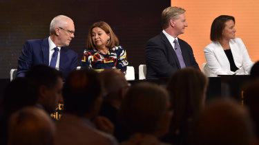 Former ABC chairman Justin Milne, former chief executive Michelle Guthrie, director Peter Lewis and Kirstin Ferguson (now acting chairman).