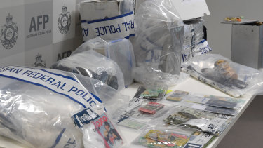 Australian Federal Police display some of the drugs that were seized.
