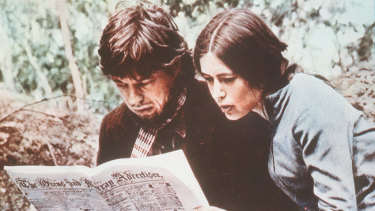 Mick Jagger as Ned Kelly in the 1970 film, reading a bad review in <i>The Ovens and Murray Advertiser</i>.