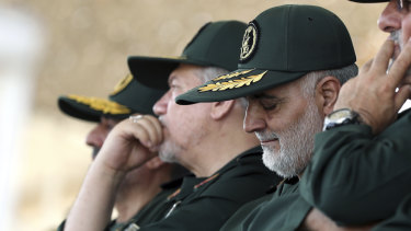 Iranian supreme leader, General Qassem Soleimani, centre, who heads the elite Quds Force of Iran's Revolutionary Guard.