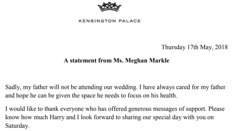 The full statement released by Kensington Palace.