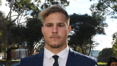 St. George Illawarra Dragons rugby league player Jack de Belin arriving at Wollongong Local Court last month.