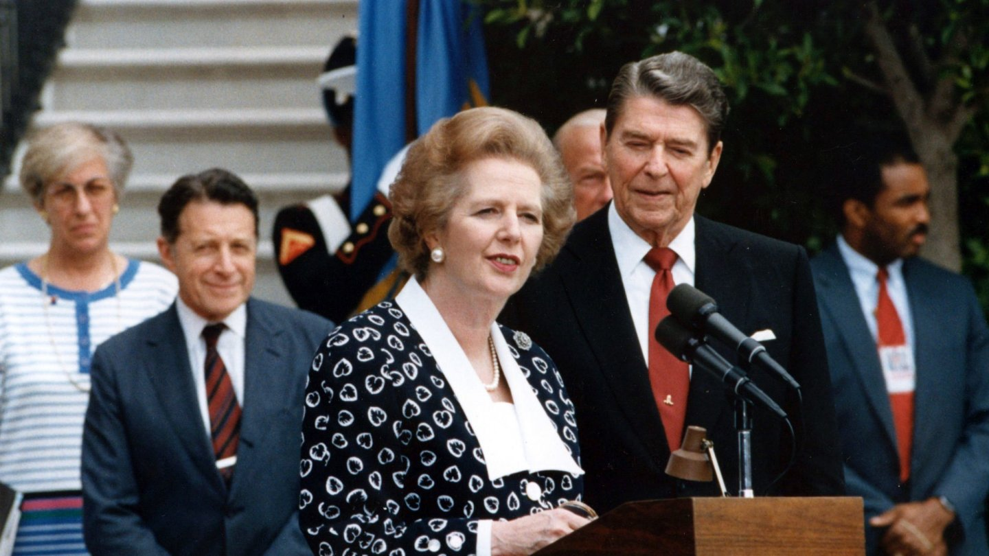 British prime minister Margaret Thatcher and US president Ronald Reagan  were both free-market evangelists.