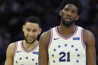 Philadelphia 76ers Joel Embiid (right) and Australian teammate Ben Simmons.