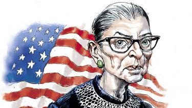 US Supreme Court Justice Ruth Bader Ginsburg. Illustration: Joe Benke