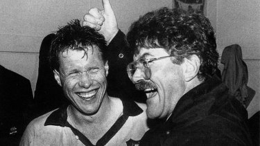 Nick Farr-Jones and Wallabies coach Bob Dwyer in 1990.