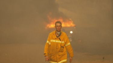 A firefighter in Whittlesea.