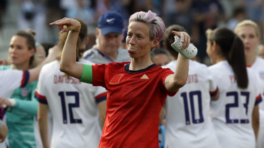 Scraped through: Megan Rapinoe celebrates at the end of the round-of-16 match against Spain at the Stade Auguste-Delaune in Reims.