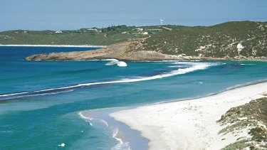 West Beach in Esperance, where a massive search is under way for a man swept off rocks.