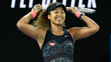 Naomi Osaka celebrates her Australian Open win.