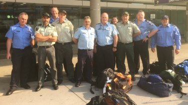 Victoria and Tasmania reinforcements at Brisbane Airport on their way to reinforce local firefighters at Boonah.