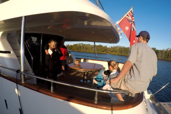 The Lady Pamela is moored at the Gold Coast City Marina while a nurse tests Hannah Fox for COVID-19 on the yacht.