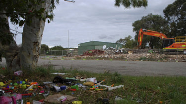 The remnants of the old Wattleup community hall.