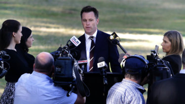 Kogarah MP Chris Minns, at Carss Park, announces he will run for Labor leadership.