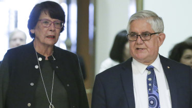 Indigenous leader and co-chair of the joint ministerial council Pat Turner with Minister for Indigenous Australians Ken Wyatt.