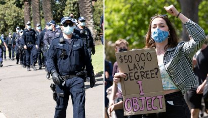 Riot squad, mounted police chase protesting Sydney University students