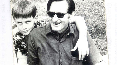 A 10-year-old Richard Glover with his father, Ted.