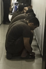 Suspected Islamic State militants wait their turn for sentencing at the counterterrorism court in Baghdad, Iraq.