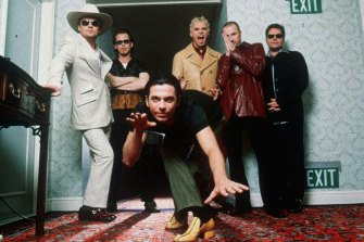 INXS, with frontman Michael Hutchence, pictured in 1997.