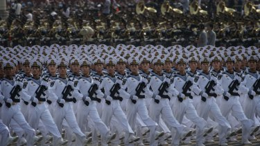BEIJING, CHINA - OCTOBER 01: Chinese navy sailors march in formation during a parade to celebrate the 70th Anniversary of the founding of the People's Republic of China at Tiananmen Square in 1949, on October 1, 2019 in Beijing, China. (Photo by Kevin Frayer/Getty Images)