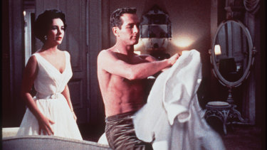 Elizabeth Taylor and Paul Newman in Cat on a Hot Tin Roof.