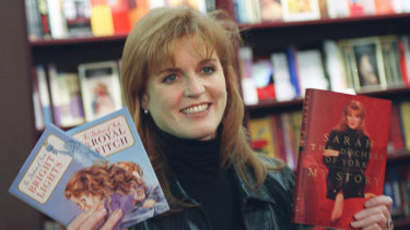 The author with copies of her first books, in California in 1996.