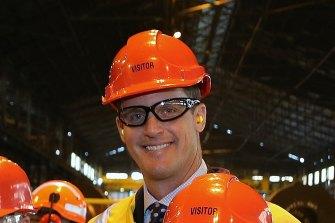 Former BlueScope executive Jason Ellis at Port Kembla steel plants in 2014.