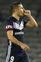 Kosta Barbarouses celebrates one of his goals for Victory.