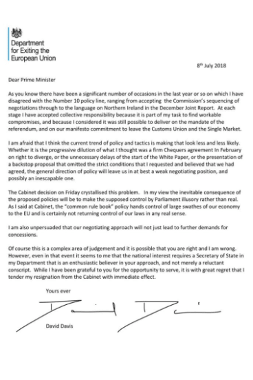 The resignation letter of Brexit minister David Davis.