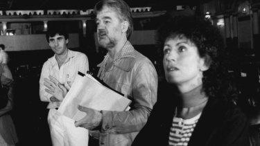 Sydney lord mayor Clover Moore (right), then an alderman, at a 1985 meeting to protect the Capitol Theatre.