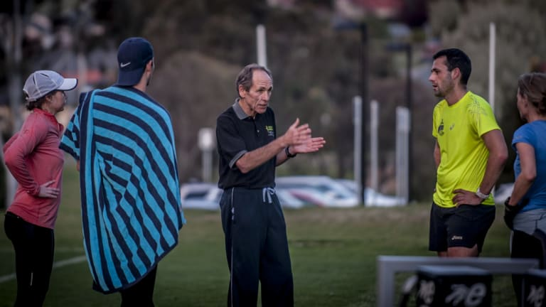 Coach: Dick Telford in action at University of Canberra.