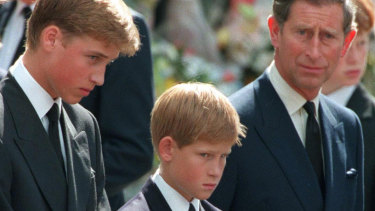 Princess Diana's sons Princes William and Harry with their father Prince Charles outside Westminster Abbey on the day of their mother's funeral.