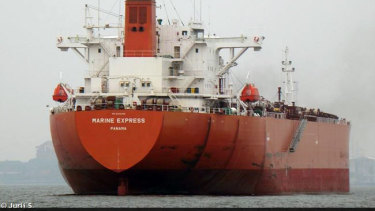 The oil tanker Marine Express was taken by pirates on February 1 off the coast of Benin but returned to the crew's control a few days later.