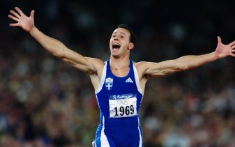 Kon Kenteris upon winning gold in Sydney.