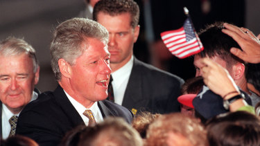 US President Bill Clinton is welcomed to Sydney on November 18, 1996