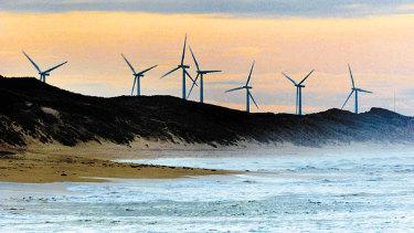 The Pacific Hydro wind farm at Codrington, outside Port Fairy, in Victoria.