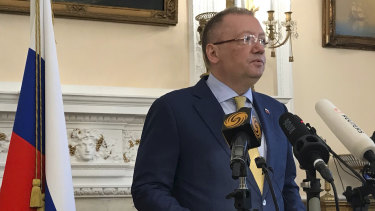 Russia's ambassador to the UK, Alexander Yakovenko, speaks at his London residence.