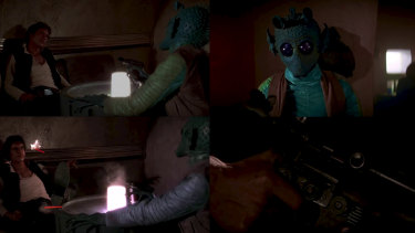 Who shot first? Clockwise from top left, Han Solo (Harrison Ford) and Greedo (Paul Blake) meet in the Mos Eisley cantina, Han unholsters his weapon and, in the remastered edition of the film, shoot simultaneously.
