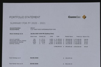 One of the fake statements provided to one of Caddick's investors.