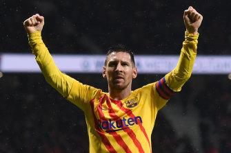 Lionel Messi celebrates his goal.