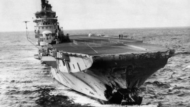 HMAS Melbourne showing the damage to her bow.