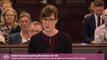 Counsel assisting Rowena Orr QC, at the banking royal commission.