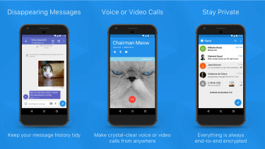Signal is an encrypted messaging and calls app.